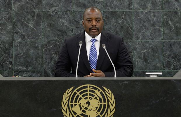Joseph Kabila Kabange, Président de la République démocratique du Congo, parle lors de la 68e session de l'Assemblée générale des Nations Unies au siège de l'ONU à New York. AFP PHOTO / Stan HONDA / POOL