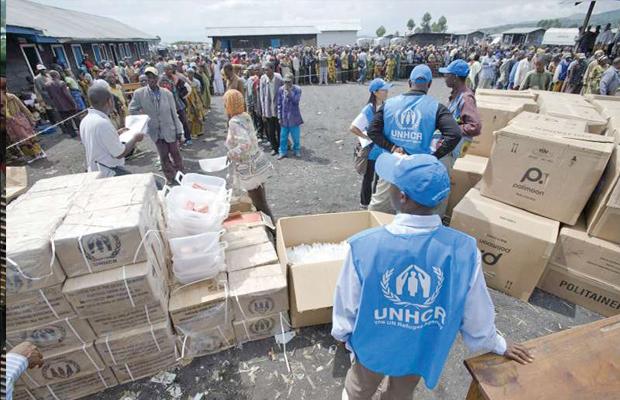 Distribution des vivres par l'UNHCR