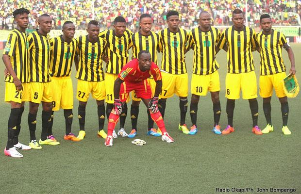 L'équipe de l'As Vita club, lors du match contre Al Hilal du Soudan au stade Tata Raphael.