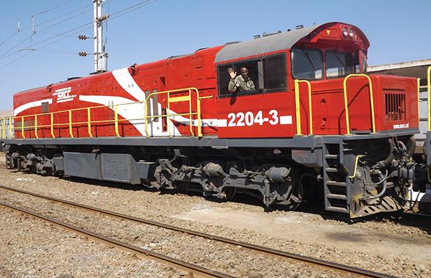 Une locomotive de la Société nationale des chemins de fer du Congo (SNCC).