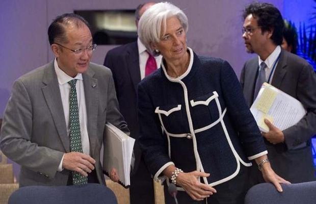 Le président de la Banque mondiale, Jim Yong Kim, et la directrice générale du FMI, Christine Lagarde.