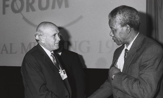 Mandela et De Klerck, symboles de la fin du régime d'apartheid.