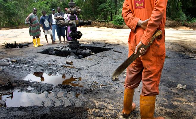 Un site d'exploitation Shell dans le golfe de Guinée.